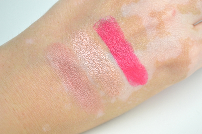 Swatches Catrice Lumination LE Blush Flushed Fiction Highlighter Luminous Light Lippenstift Pink Mattrix