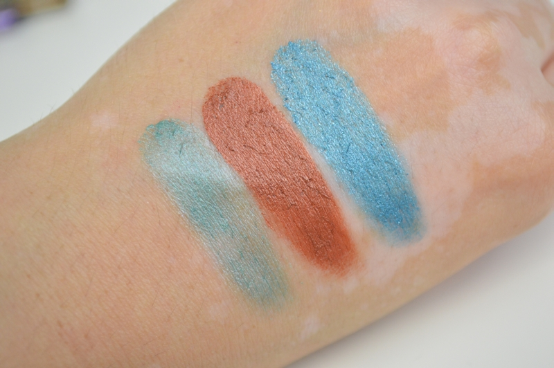 Shopping August 2015 P2 Brave and Beautiful LE Cream Eye Shadow Turquoise River, Orange Lava, Blue Canyon Swatches