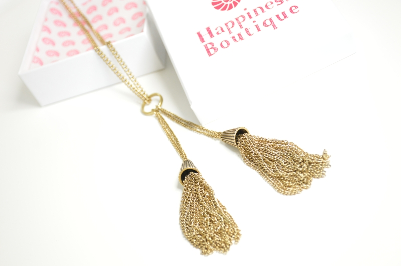 Happiness Boutique  Golden Tassel Statement Necklace Vintage Gold Kette Review