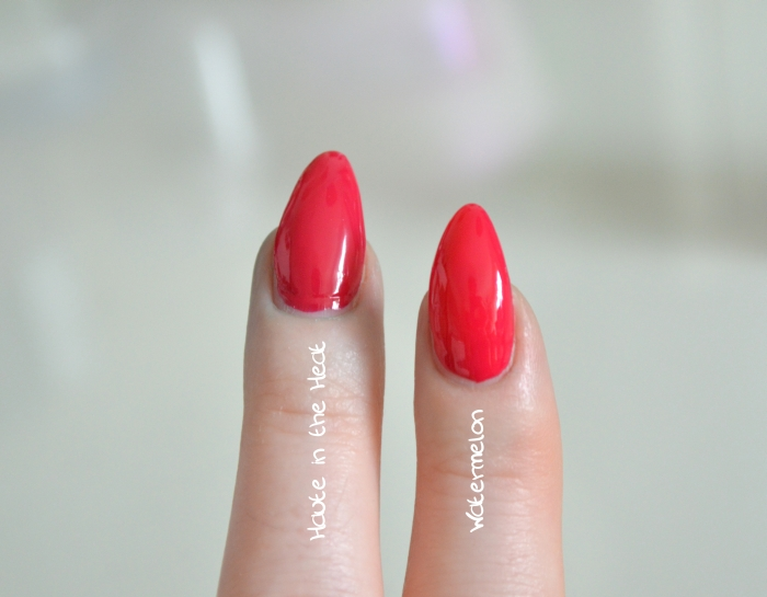 Essie_Haute_in_the_Heat_vs_Watermelon_Swatches