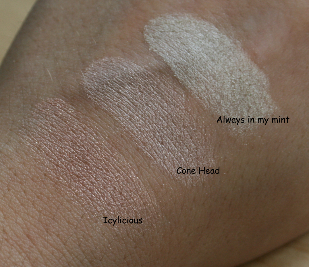 essence me and my icecream swatches lidschatten highlighter